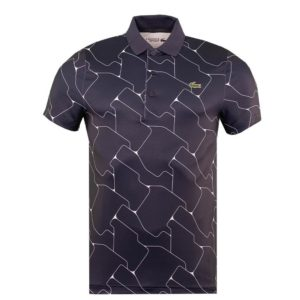 Men's Lacoste SPORT Print Breathable Stretch Polo Shirt Navy