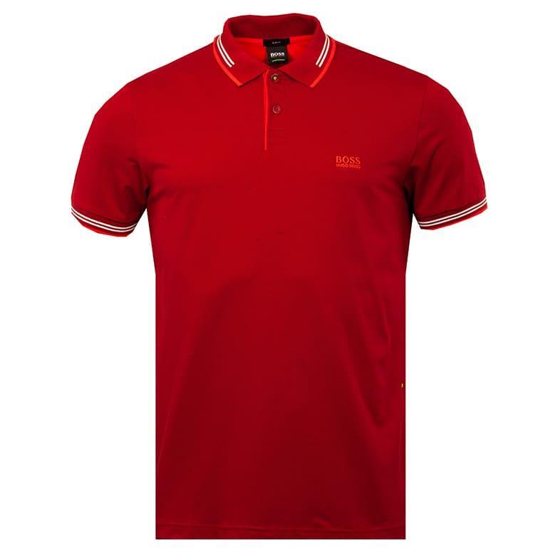Mens Paul Polo Shirt In Black Hugo Boss Polo