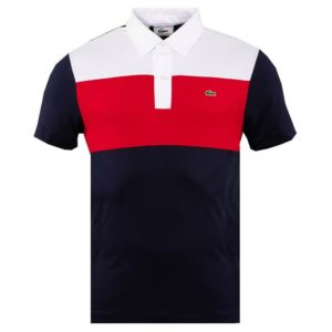 Lacoste Mens Anniversary Collection Polo Shirt White/Red/Navy