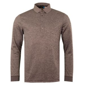 J Lindeberg Mens Olof L/Sleeve TX Polo Shirt Grey Melange