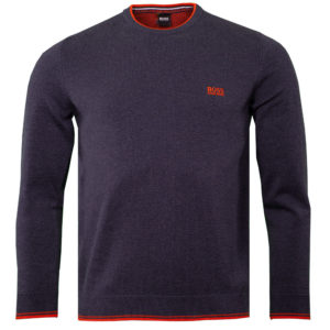 Hugo Boss Rimex Round Neck Jumper Open Blue