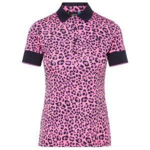 J Lindeberg Lexie Ladies Cool Max TX Polo Shirt Pink Leopard