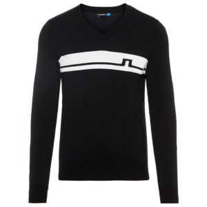 J Lindeberg Milo V-Neck Pima Cotton Jumper Black