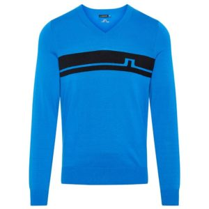 J Lindeberg Milo V-Neck Pima Cotton Jumper True Blue