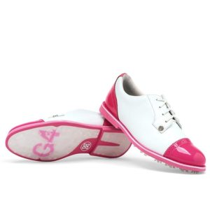 G Fore Cap Toe Gallivanter Ladies Golf Shoes Snow/ Day Glo Pink