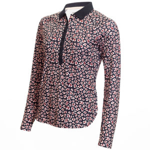 Calvin Klein Capella Long Sleeved Polo Shirt Navy/Pink