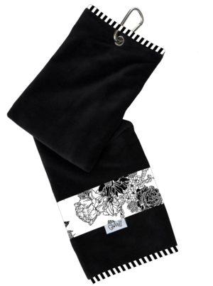 Glove It Ladies Black/White Rose Towel