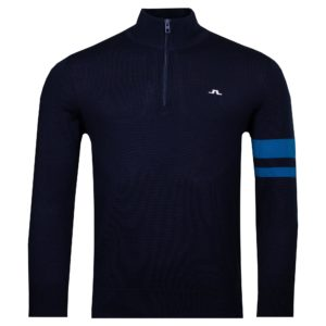 J Linderberg Abel Quarter Zip Golf Sweater Egyptian Blue