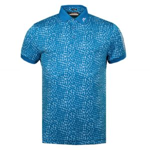 J Lindeberg Tour Tech Regular Fit Graphic Golf Polo Shirt Checker Ocean Blue