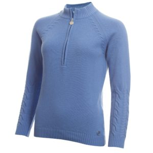 Green Lamb GIGI Superwool Ladies Golf Jumper Sky