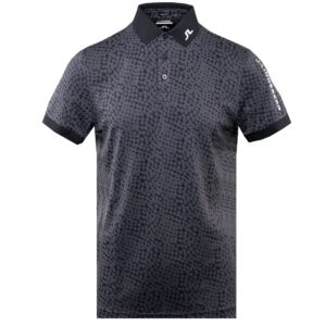 J Lindeberg Tour Tech Regular Fit Graphic Golf Polo Shirt Checker Navy