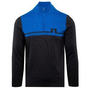 J Lindeberg Theo Zipped Golf Sweater Egyptian Blue