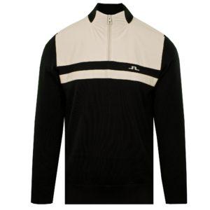 J Lindeberg Mathis Zipped Windproof Golf Sweater Black