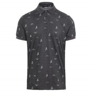 J Lindeberg Glen Regular Fit JL Bridge Print Polo Shirt Dark Grey-XL