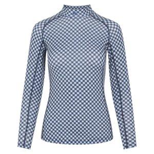 J Lindeberg Asa Print Ladies Golf Soft Compression Top Navy Gingham-L