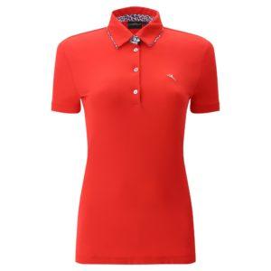 Chervo Aroa Ultra Light Pique Ladies Golf Polo Shirt Red-16