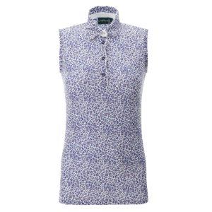 Chervo Aurore Deco Print Sleeveless Ladies Golf Polo Shirt Blue-16