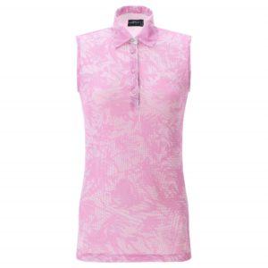 Chervo Aurore Deco Print Sleeveless Ladies Golf Polo Shirt Pink-14
